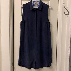 Equipment 100%silk navy button down dress